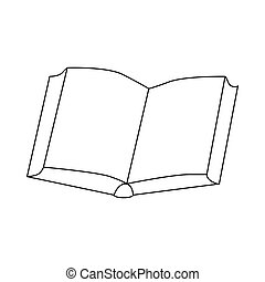 Open thick book icon, outline style