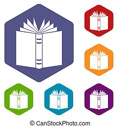 Open thick book icons set rhombus in different colors...