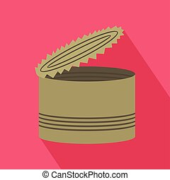 Open tin can icon, flat style