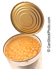 Open tin can of beans  on white background