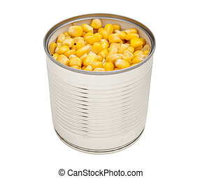 Open tin can of corn, isolated. - Sweet canned corn in a...