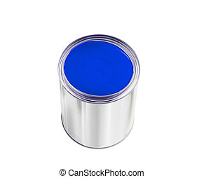 open tin can with blue paint isolated on white