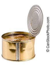 open tin can with fish pilchard isolated on white...