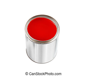 open tin can with red paint isolated on white