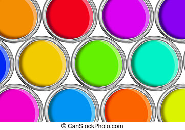 open tin cans with paint, colorful background