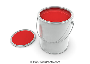Tin of Red Paint - Open Tin of Red Paint on white background