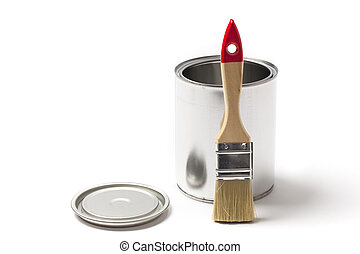 Open Tin Paint Can with a Brush