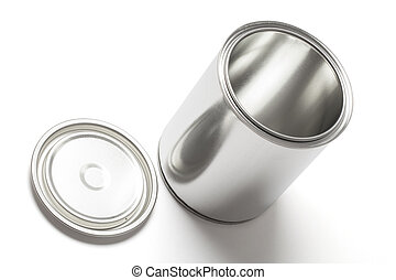 Open Tin Paint Can with Clipping Path