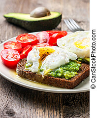 Open toast with avocado and egg