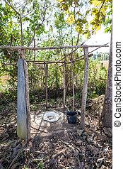 open toilet in the field