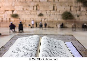 Open Torah in front of Western Wall, Jerusalem