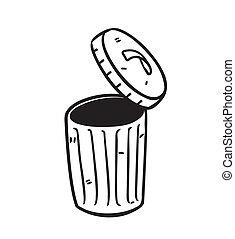 open trash bin