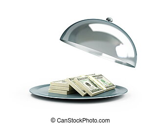 open tray dollar on white background