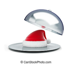 open tray santa hat on a white background 3d Illustrations
