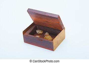 Open  treasure box with menerals