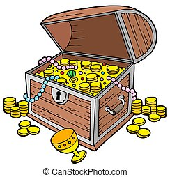 Open treasure chest - isolated illustration.