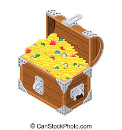 Open treasure chest isometrics. Old casket with money. Gold and precious stones ornament. Sapphires and diamonds. Coins and emeralds. Pirate Hidden Wealth