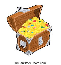 Open treasure chest. Old casket with money. Gold and precious stones ornament. Sapphires and diamonds. Coins and emeralds. Pirate Hidden Wealth