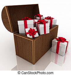 open treasure chest with gift boxes