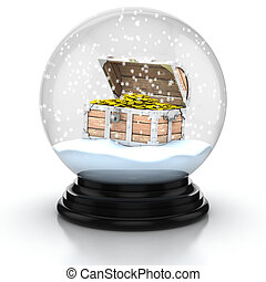 open treasure chest within snow