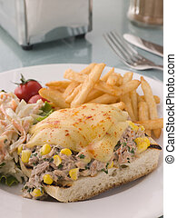 Open Tuna and Sweet corn Melt with Coleslaw and Fries