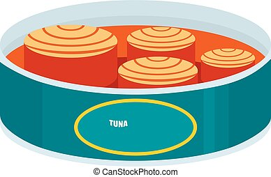 Open tuna can icon, flat style