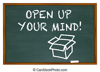 Open Up Your Mind Chalk Board Expand Thinking 3d Illustration