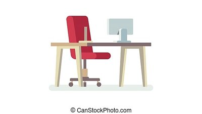 Open vacancy. Office space. Empty office chair with vacant sign isolated on white background. Video staffing and recruiting business concept. Hiring animation. Chair, table and computer.