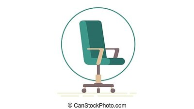 Open vacancy. Video saver. Office space. Empty office chair with vacant sign isolated on white background. We are hiring with office empty chair. Staffing and recruiting business concept