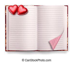 Open Valentine diary blank notebook - Open Valentine pink...