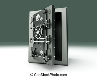 Open Vault - A open bank safe. 3D rendered Illustration.
