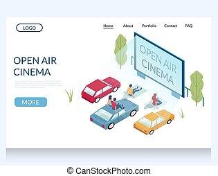 open, vector, bioscoop, website, tussenverdieping, lucht,...