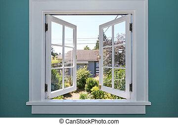 open venster, om te, de, achtertuin, met, kleine, shed.