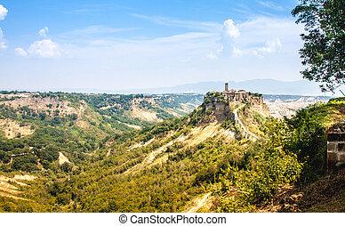 Open view of Civita di Bagnoreggio, Italy