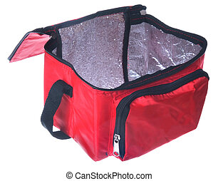 open view of red cooling bag isolated over white