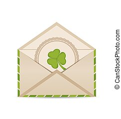 Open vintage envelope with clover isolated on white background for St. Patrick's Day