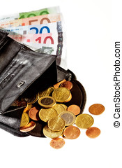 open wallet with euro coins