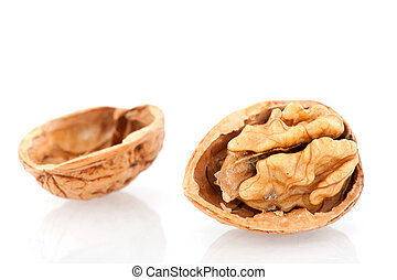 Open walnut - Open healthy walnut isolated over white