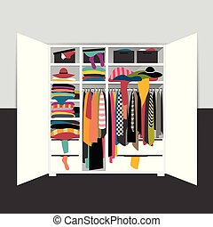 Open wardrobe, closet overflowing with clothes, untidy, mess. Vector cartoon illustration.