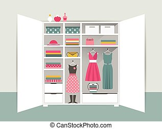 Open wardrobe. White closet with tidy clothes, shirts, sweaters, boxes and shoes. Home interior