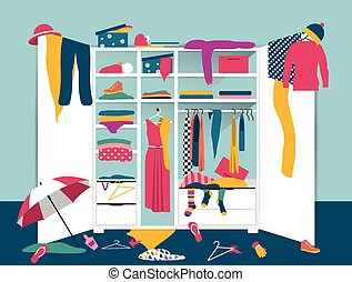 Open wardrobe. White closet with untidy clothes, shirts, sweaters, boxes and shoes. Home mess interior. Flat design