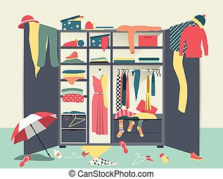 Open wardrobe. White closet with untidy clothes, shirts, ...