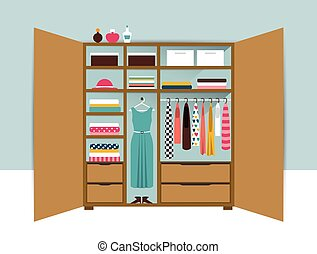 Open wardrobe. Wooden closet with tidy clothes, shirts, sweaters, boxes and shoes. Home interior. Flat design