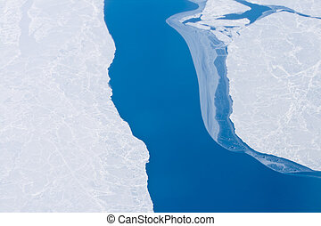 Open Water Arctic Ocean Ice near North Pole, Global Warming