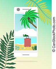 Open way to sea nature through mobile devices. Summer door concept. Summer beach landscape in smartphone. Online booking summer vacations and holidays