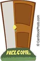 open, welkom, deur, tapijt