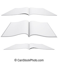 Open white book - Open book. 3d render isolated on white...