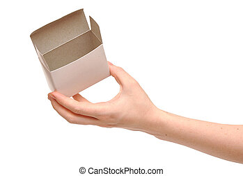 open white box in woman hands