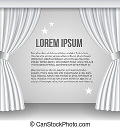 Open white curtain