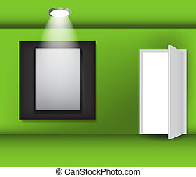 Open white door and white frame in art gallery on a green wall vector illustration